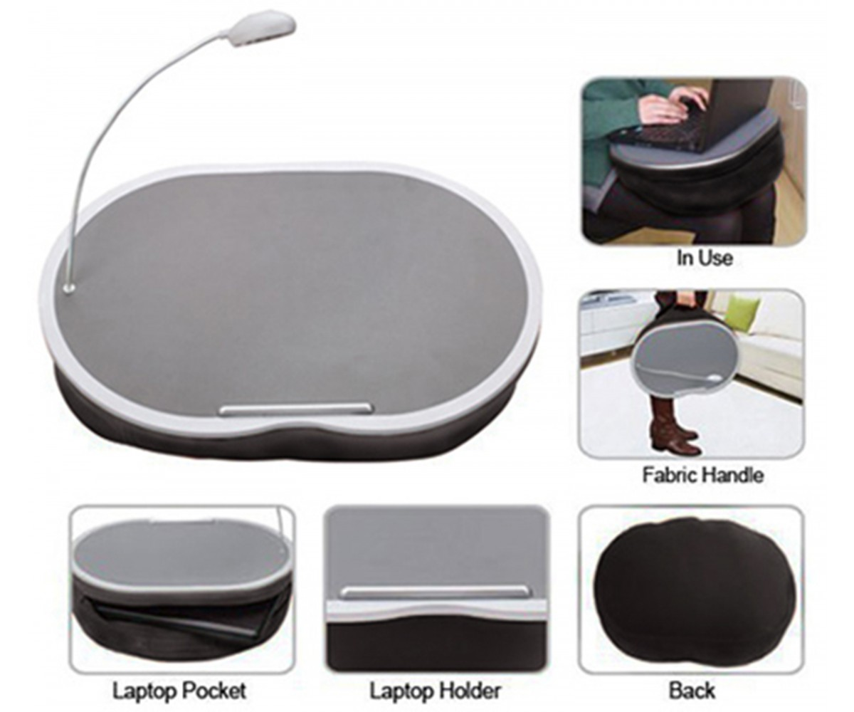 Portable Lap Desk With Led Lamp 18 X 15 Handy Zippered Storage