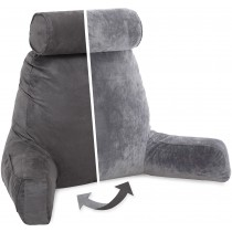 Husband Pillow, Aspen Edition - Iron Grey Big Support Bed Backrest Reversable MicroSuede/MicroFiber Reading Pillow