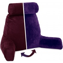 Husband Pillow, Aspen Edition - Mauve Purple Big Support Bed Backrest Reversable MicroSuede/MicroFiber Reading Pillow