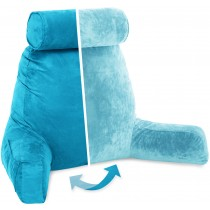 Husband Pillow, Aspen Edition - Rodeo Blue Big Support Bed Backrest Reversable MicroSuede/MicroFiber Reading Pillow