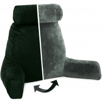 Husband Pillow, Aspen Edition - Ramona Green Big Support Bed Backrest Reversable MicroSuede/MicroFiber Reading Pillow
