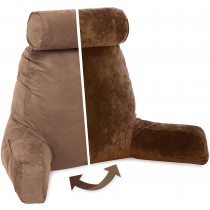 Husband Pillow, Aspen Edition - Saddle Brown Big Support Bed Backrest Reversable MicroSuede/MicroFiber Reading Pillow