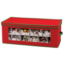Holiday Ornament Storage Chest -- 3-tier Storage Ornaments -- Holiday Ornament Storage Chest for 54-Piece, Red with Green Trim -- This beautiful storage chest will be the ideal keeping place for precious holiday ornaments