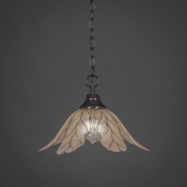 "Chain Hung Pendant Shown In Black Copper Finish With 16"" Vanilla Leaf Glass"