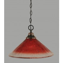 "Chain Hung Pendant Shown In Black Copper Finish With 16"" Raspberry Crystal Glass"