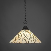 "Chain Hung Pendant Shown In Matte Black Finish With 16"" Sandhill Tiffany Glass"