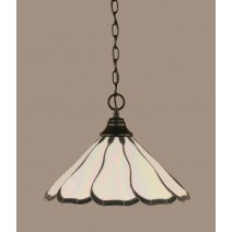 "Chain Hung Pendant Shown In Matte Black Finish With 16"" Pearl & Black Flair Tiffany Glass"