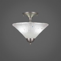"Semi-Flush With 2 Bulbs Shown In Brushed Nickel Finish With 12"" Frosted Crystal Glass"