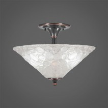 "Semi-Flush With 2 Bulbs Shown In Black Copper Finish With 16"" Italian Bubble Glass"