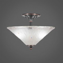 "Semi-Flush With 2 Bulbs Shown In Black Copper Finish With 16"" Frosted Crystal Glass"