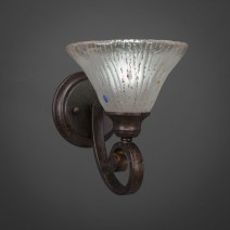 "Curl Wall Sconce Shown In Bronze Finish With 7"" Frosted Crystal Glass"