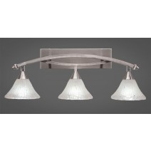 "Bow 3 Light Bath Bar Shown In Brushed Nickel Finish with 7"" Frosted Crystal Glass"