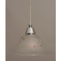 "Cord Mini Pendant Shown In Chrome Finish With 10"" Frosted Crystal Glass"