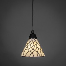"Cord Mini Pendant Shown In Matte Black Finish With 7"" Sandhill Tiffany Glass"