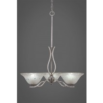 "Revo 3 Light Chandelier Shown In Aged Silver Finish With 10"" Frosted Crystal Glass"