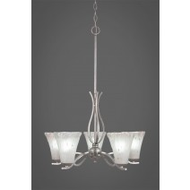 "Revo 5 Light Chandelier Shown In Aged Silver Finish With 5.5"" Frosted Crystal Glass"