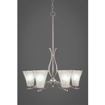 "Revo 6 Light Chandelier Shown In Aged Silver Finish With 5.5"" Frosted Crystal Glass"