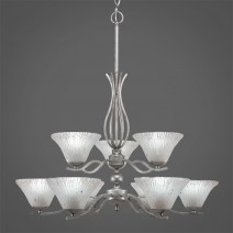 "Revo 9 Light Chandelier Shown In Aged Silver Finish With 7"" Frosted Crystal Glass"