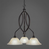 "Bow 3 Light Chandelier Shown In Black Copper Finish With 10"" Amber Marble Glass"