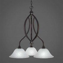 "Bow 3 Light Chandelier Shown In Black Copper Finish With 10"" White Marble Glass"