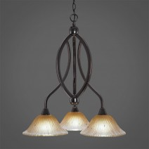 "Bow 3 Light Chandelier Shown In Black Copper Finish With 10"" Amber Crystal Glass"