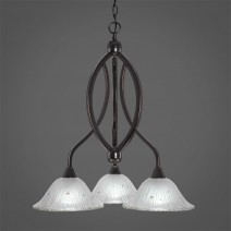 "Bow 3 Light Chandelier Shown In Black Copper Finish With 10"" Frosted Crystal Glass"