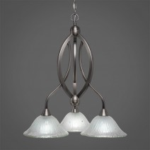 "Bow 3 Light Chandelier Shown In Brushed Nickel Finish With 10"" Frosted Crystal Glass"
