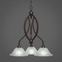 "Bow 3 Light Chandelier Shown In Bronze Finish With 10"" Frosted Crystal Glass"