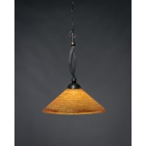 "Bow Pendant Shown In Black Copper Finish With 16"" Firr"