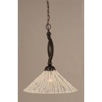 "Bow Pendant Shown In Black Copper Finish With 16"" Italian Ice Glass"