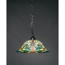"Bow Pendant Shown In Black Copper Finish With 19"" Kaleidoscope Tiffany Glass"