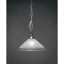 "Bow Pendant Shown In Brushed Nickel Finish With 16"" Frosted Crystal Glass"