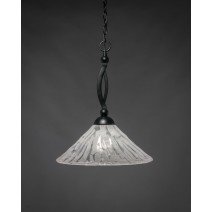 "Bow Pendant Shown In Matte Black Finish With 16"" Italian Ice Glass"