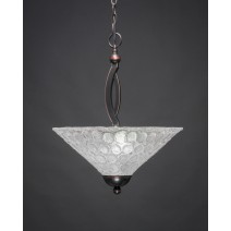 "Bow Pendant With 2 Bulbs Shown In Black Copper Finish With 16"" Italian Bubble Glass"