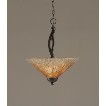 "Bow Pendant With 2 Bulbs Shown In Black Copper Finish With 16"" Amber Crystal Glass"