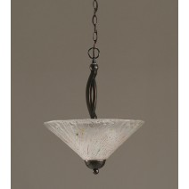 "Bow Pendant With 2 Bulbs Shown In Black Copper Finish With 16"" Frosted Crystal Glass"