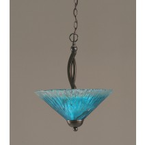 "Bow Pendant With 2 Bulbs Shown In Black Copper Finish With 16"" Teal Crystal Glass"