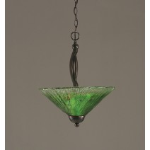 "Bow Pendant With 2 Bulbs Shown In Black Copper Finish With 16"" Kiwi Green Crystal Glass"