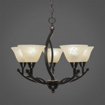 "Bow 5 Light Chandelier Shown In Black Copper Finish With 7"" Amber Marble Glass"