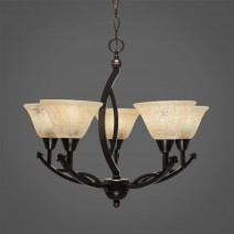 "Bow 5 Light Chandelier Shown In Black Copper Finish With 7"" Italian Marble Glass"