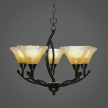 "Bow 5 Light Chandelier Shown In Black Copper Finish With 7"" Amber Crystal Glass"