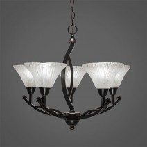 "Bow 5 Light Chandelier Shown In Black Copper Finish With 7"" Frosted Crystal Glass"