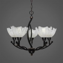 "Bow 5 Light Chandelier Shown In Black Copper Finish With 7"" Gold Ice Glass"