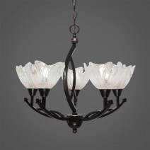 "Bow 5 Light Chandelier Shown In Black Copper Finish With 7"" Italian Ice Glass"