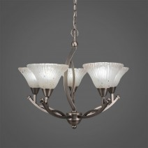 "Bow 5 Light Chandelier Shown In Brushed Nickel Finish With 7"" Frosted Crystal Glass"
