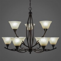 "Bow 9 Light Chandelier Shown In Black Copper Finish With 7"" Amber Marble Glass"