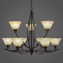 "Bow 9 Light Chandelier Shown In Black Copper Finish With 7"" Italian Marble Glass"
