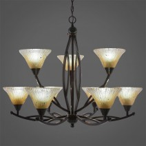 "Bow 9 Light Chandelier Shown In Black Copper Finish With 7"" Amber Crystal Glass"
