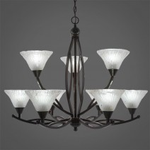 "Bow 9 Light Chandelier Shown In Black Copper Finish With 7"" Frosted Crystal Glass"