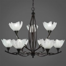 "Bow 9 Light Chandelier Shown In Black Copper Finish With 7"" Gold Ice Glass"
